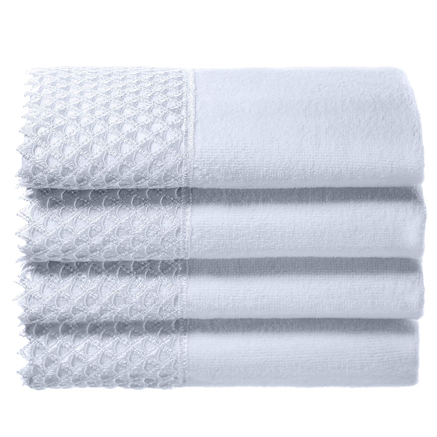 Creative Scents Cotton Velour Fingertip Towels, 4 Piece Set, 11 by 18-Inch, Decorative Towel Set with White Lace for Bathroom, Powder Room, Gift Packaged (White) by Creative Scents