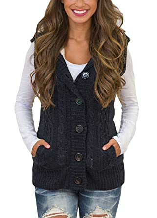 Annflat Women's Hooded Button Up Sleeveless Fleece Sweater Coat ...