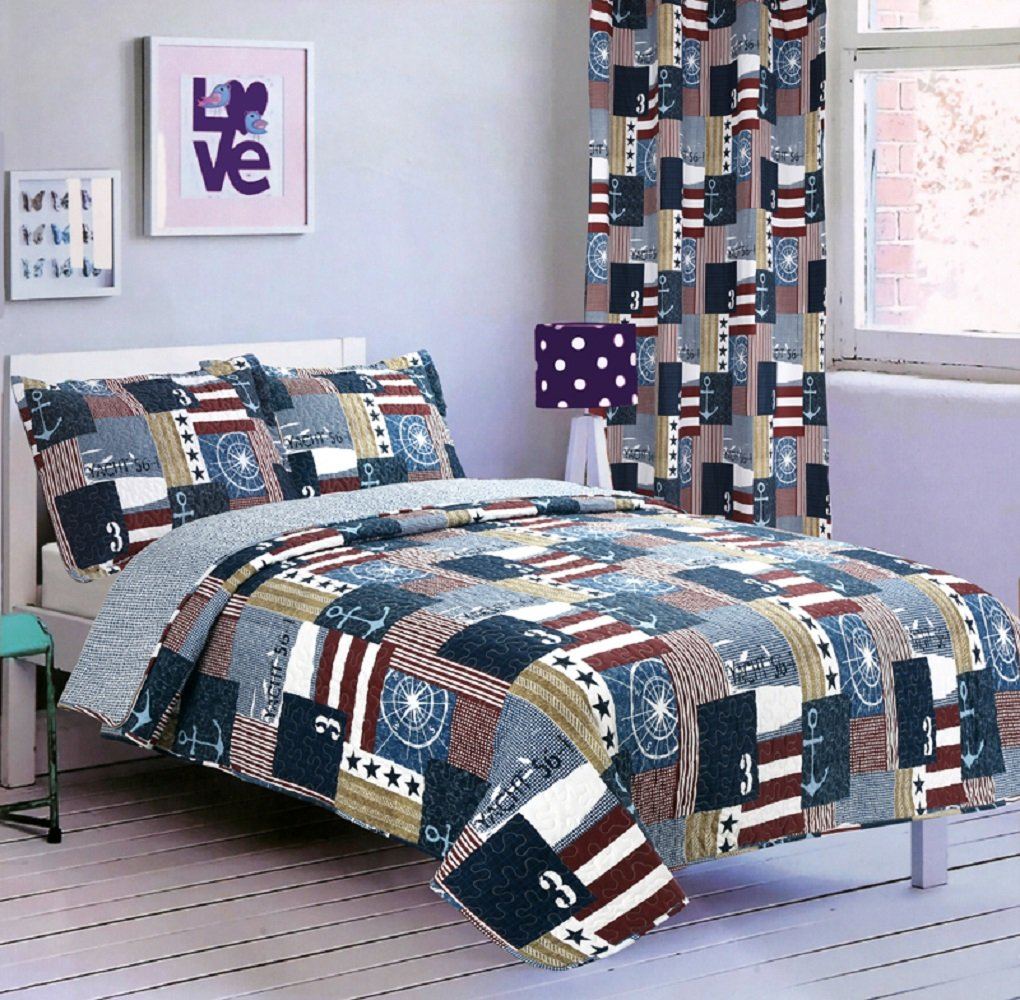 All American Collection New 2pc Printed Modern Patchwork Bedspread Coverlet Set Twin Size, Sailing