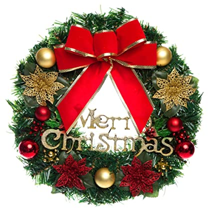besazw merry christmas wreath 30cm artificial garland window door decorations with bells bowknot outdoor indoor party