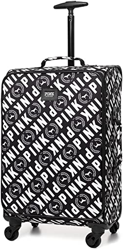 Victoria s Secret PINK WHEELIE Suitcase Carry on Travel Luggage Black White
