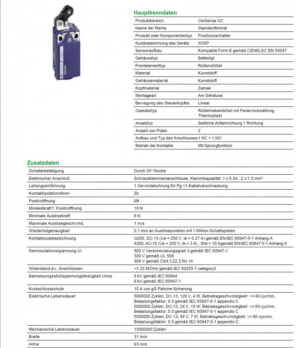 1/NC PG11/presse-/étoupe Telemecanique capteurs Xckp2121g11/Limit Switch avec rouleau en thermoplastique /à levier Piston lin/éaire dactionnement T/ête plastique s/érie Xckp 1/NO Snap Act Horizontal