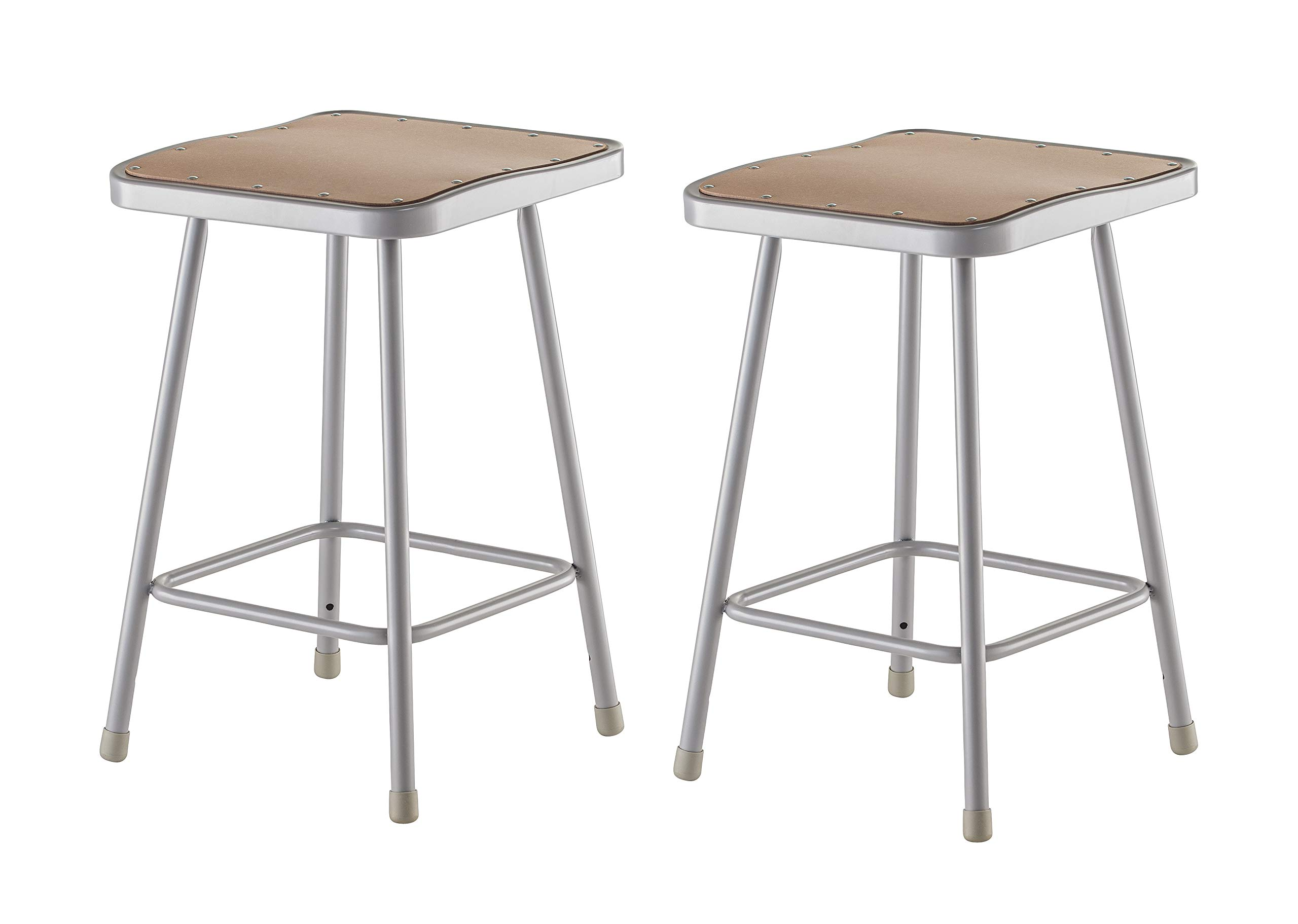 National Public Seating 6324-CN Steel Stool with Square 24'' Hardboard Seat, Grey (Pack of 2)