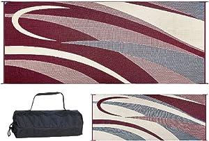 Stylish Camping GC5 Burgundy/Black 8-Feet x 20-Feet Graphic Reversible Mat