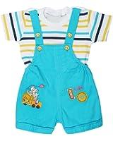 Littly Baby Dungaree Set (Turquoise/Firozi)