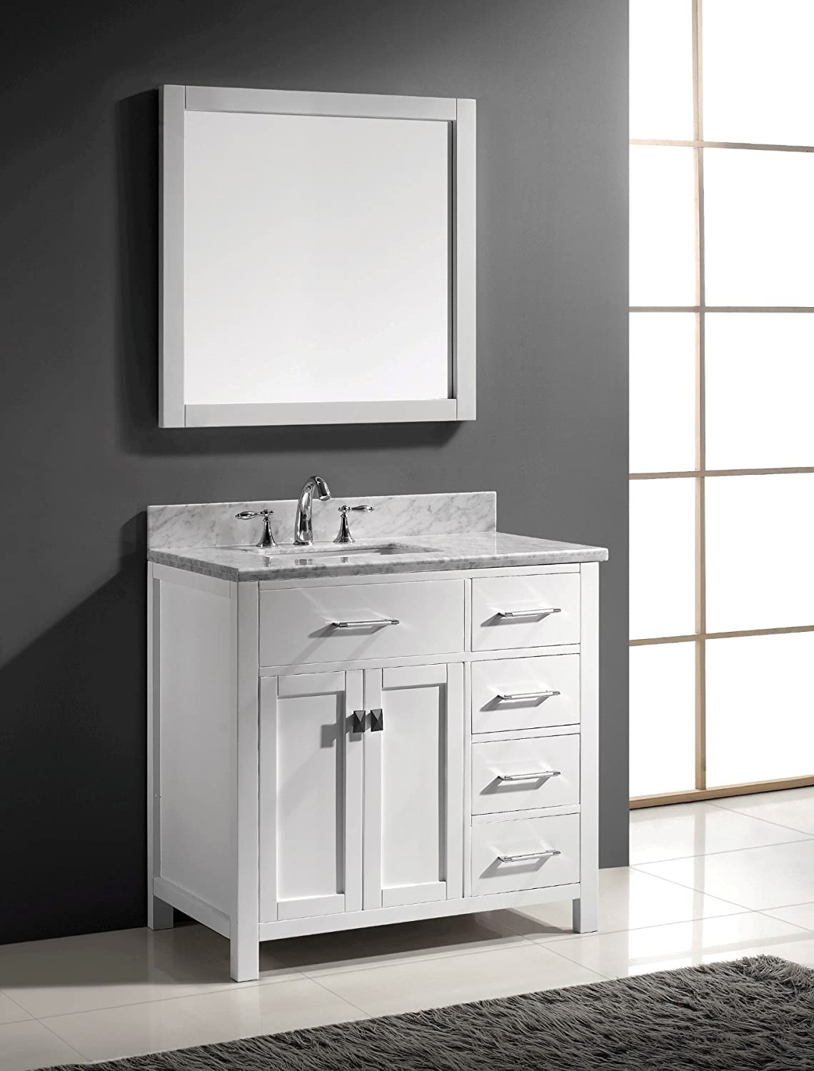 Virtu Usa Ms 2136r Wmsq Wh 36 Inch Caroline Parkway Single Square Sink Bathroom Vanity White Amazon Com