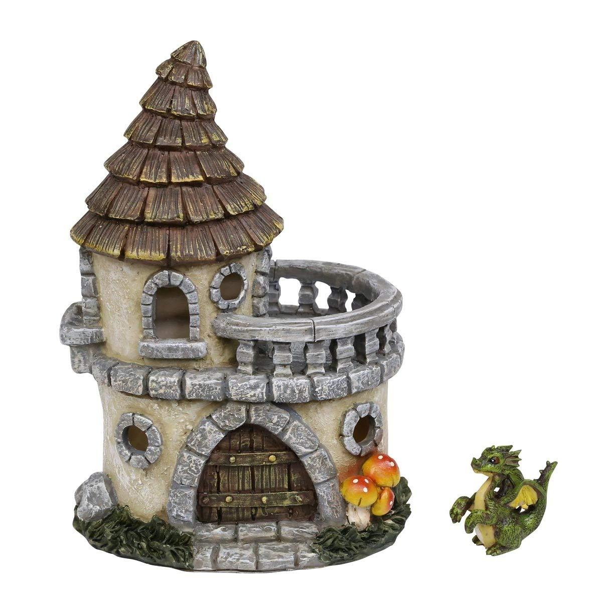 Alpine Corporation WQA671A Castle of Dreams Fairy House w//Dapper Dragon Figurine 9 Inch Tall Multi-Color