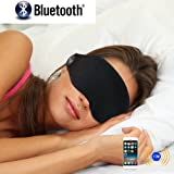 Outspace Bluetooth Music Eye Mask with Stereo Speaker Headphones Handsfree Microphone Rechargeable Battery Wireless Travel Headset Earpiece for iPhone iPad Tablets Android Phones-Black