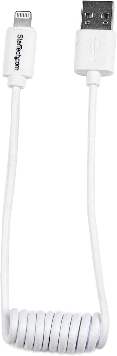 StarTech.com Lightning to USB Cable - Coiled Lightning Cable - 0.3m (1ft) - White - Apple MFi Certified (USBCLT30CMW)
