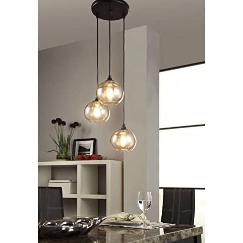 Modern Chandelier Centerpiece For Dining Rooms And Kitchen Areas Round Globe Light Fixture Provides Ample