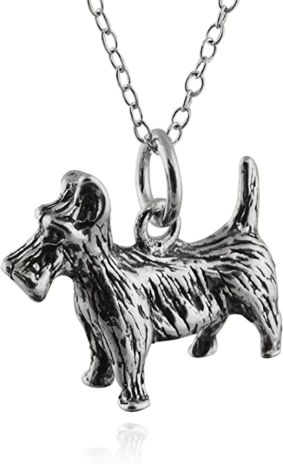 Sterling Silver Scottie Dog Necklace 14-22 Inches