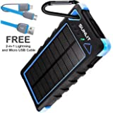 Solar Charger SUNLIT | Portable Power Bank with Flashlight | All Weather Condition | Shockproof Dustproof Waterproof IP67 | 16000mAh Dual USB Battery Pack For Iphone Samsung Android (BLUE)