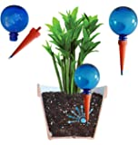 Plantpal Pack of 2 Large Watering Globes. New Clear Colours BLUE clear view of water level. Holiday and Everyday Self Watering for plants.