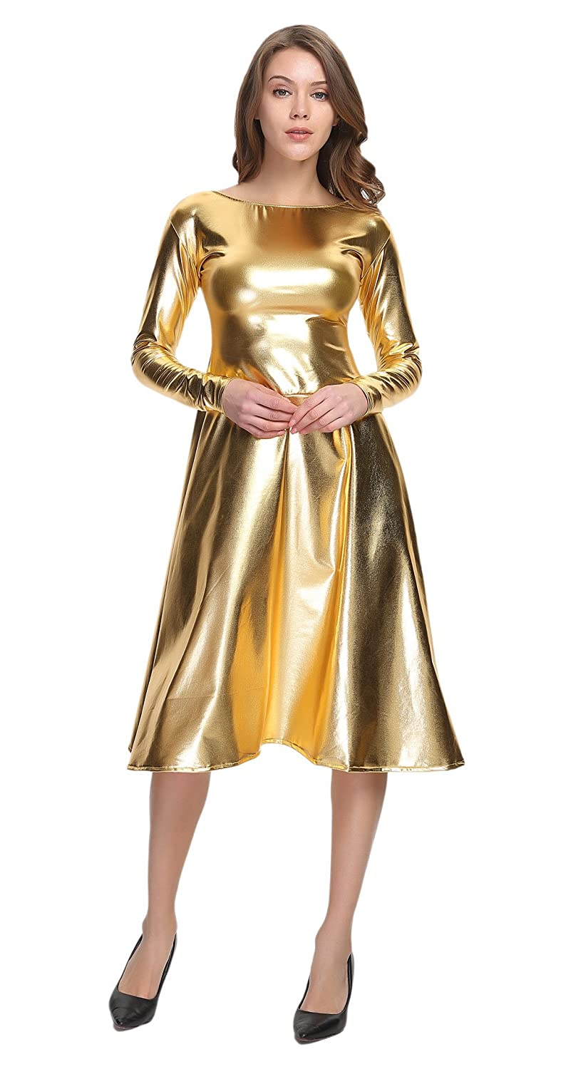 Hippie Costumes, Hippie Outfits WOLF UNITARD Long Shiny Metallic Dresses For Women $38.00 AT vintagedancer.com