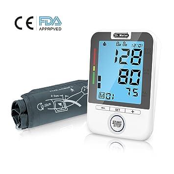 Dr.Meter bpm100 FDA Certification - Tensiómetro Electrónico Brazo Monitor de Presión Arterial del Brazo Digital con Pulsera Pantalla LCD ...