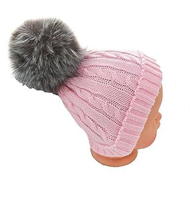 6f63aa07245 Soft Touch Newborn Baby Fur Bobble Pom Pom Hat Pink Blue Grey Winter Hat  0-12 Months (Pink with Dark Grey Fur Pom