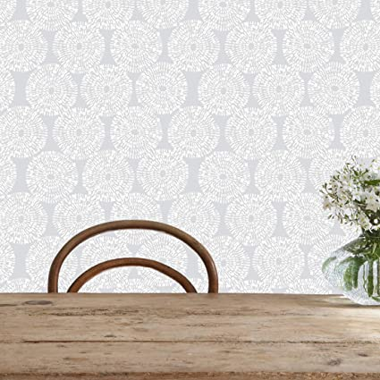 Flipside Painted Gray Circles Removable Pre Pasted Wallpaper