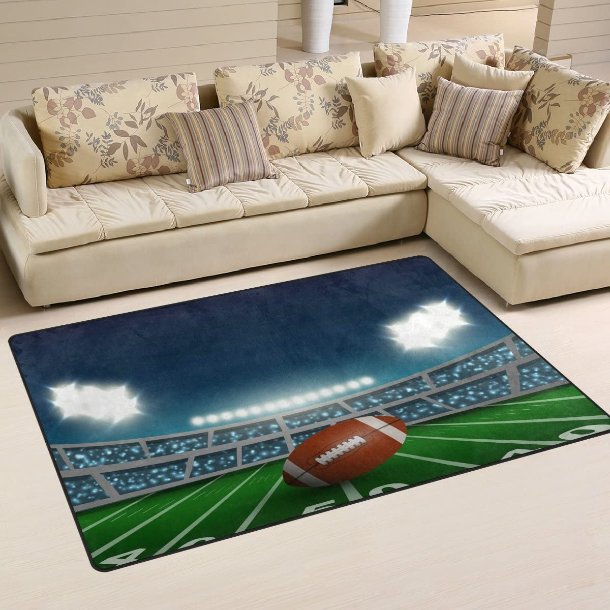 WOZO American Football Stadium Area Rug Rugs Non-Slip Floor Mat Doormats Living Dining Room Bedroom Dorm 60 x 39 inches inches Home Decor