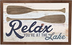 P. Graham Dunn Relax You're at The Lake Paddles 17.8 x 11.3 Inch Solid Pine Wood Farmhouse Frame Wall Plaque