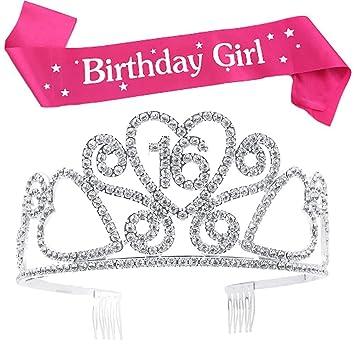 Amazon.com: Buyitnow cumpleaños de niña Sash y purpurina ...