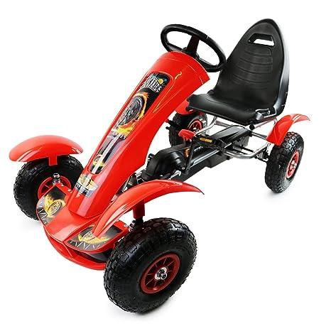 Oypla – Deluxe para niños pedal rojo Go Kart montar en jardín juguete ruedas de goma