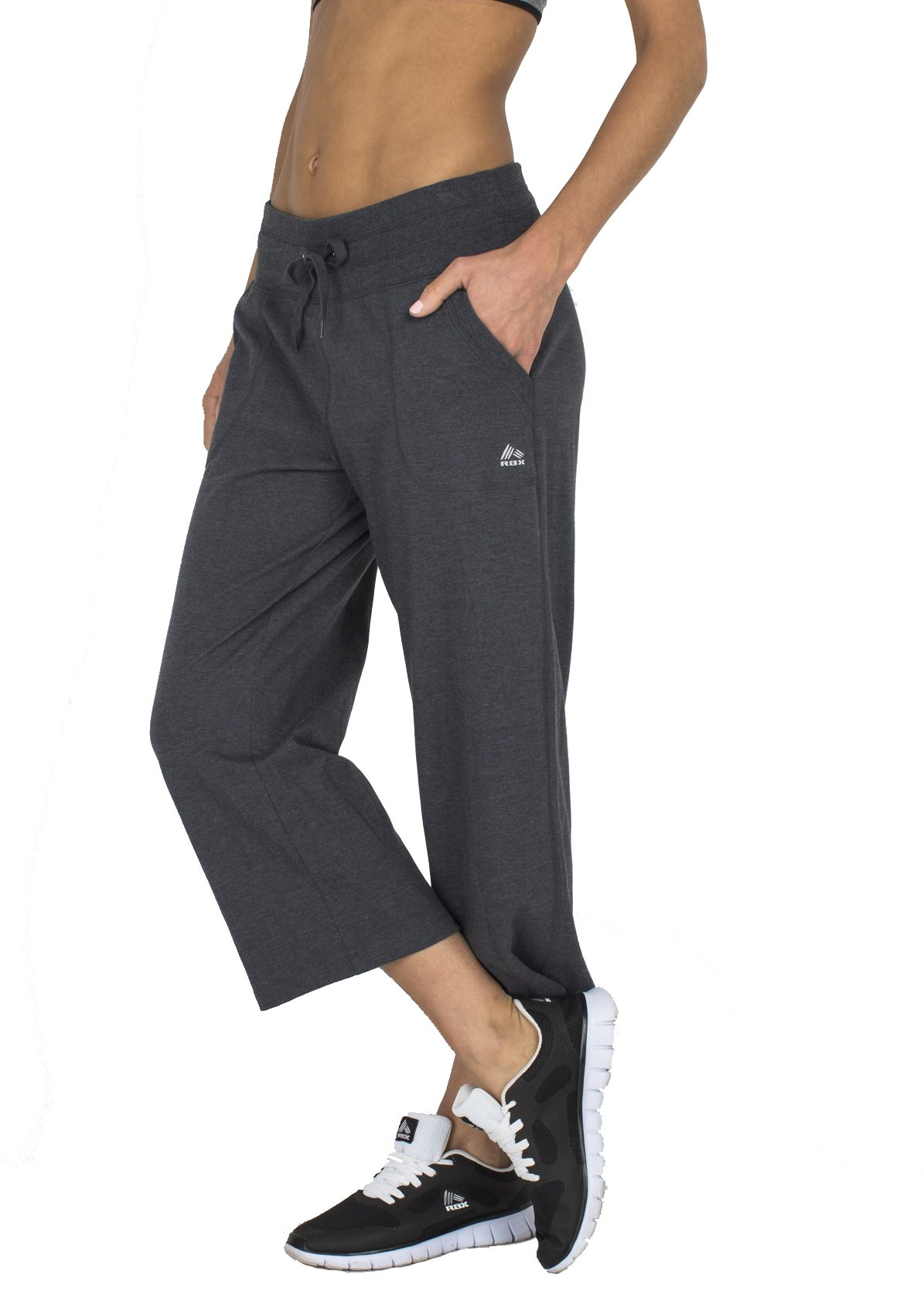 RBX Active Women's Relaxed Fit Cotton Capri Pant w/ Dual Pockets, Medium, Charcoal