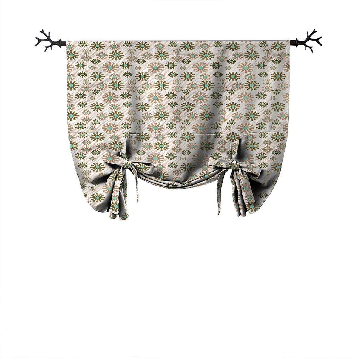 Mozenou Waterproof Roman Blinds-Animal Print,Flowers on Tiger Skin,Ideal for Living Rooms and bedrooms,W52 xL84 One Panel