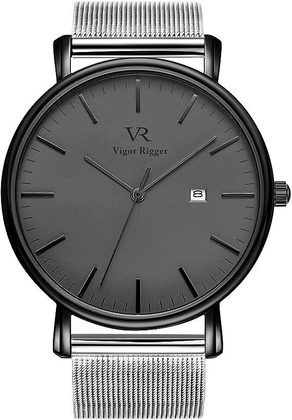 Vigor Rigger Men's Watch Simple Thin Quartz Mesh Strap Wrist Watches