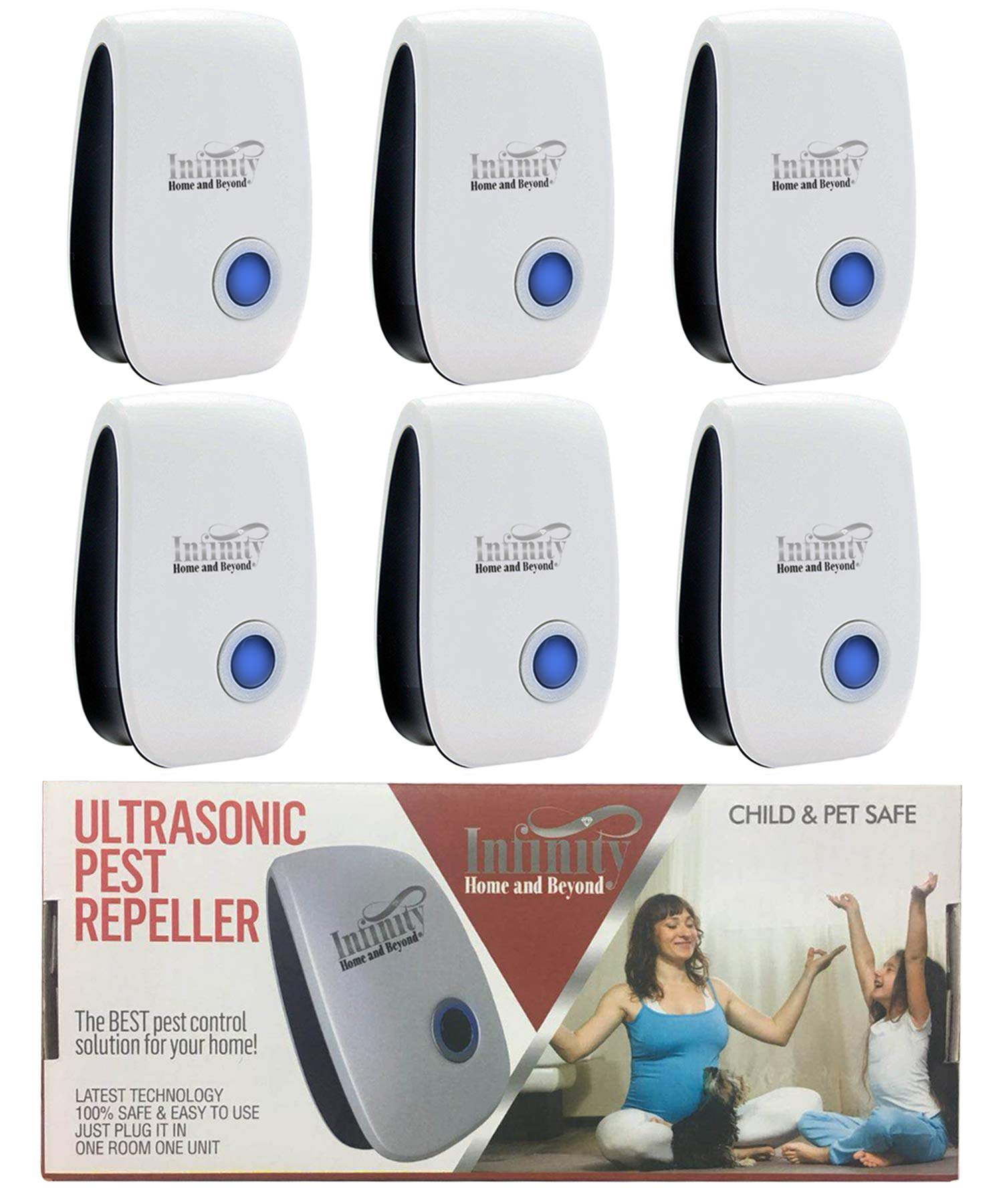 Infinity Home and Beyond Upgraded 2018 Ultrasonic Pest Repeller Plug in Pest Control (6 Pack) - Get Rid of Ants,Mosquitos,Spiders,Mice Repellent - Child and Pet Safe, Clean and Humane