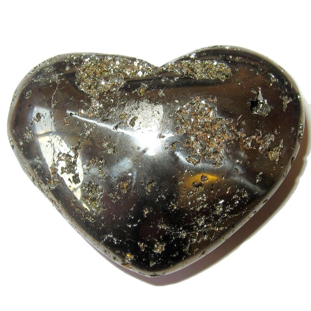 Pyrite Heart 56 Big Crystal Cluster Stone Polished Raw Negativity Shield Rock 2.7'' …