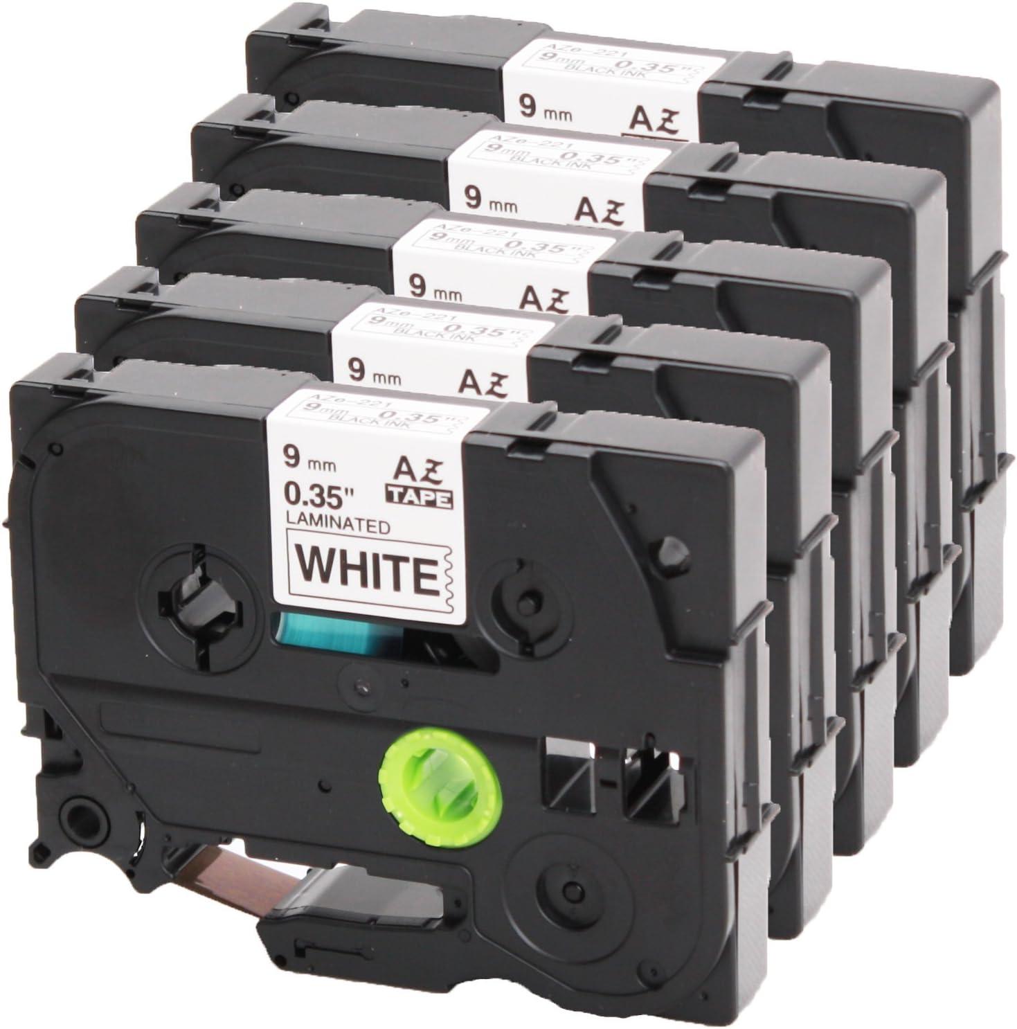 5x Schriftband Tape 9mm für BROTHER P-Touch 1000 1080 1010 1090