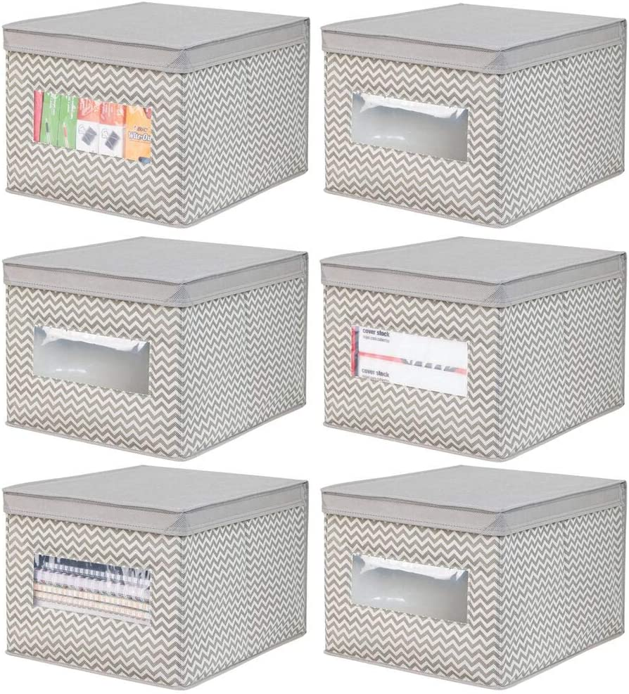 mDesign Decorative Soft Stackable Fabric Office Storage Organizer Holder Bin Box Container - Clear Window, Lid, for Cabinets, Drawers, Desks, Workspace, Foldable - Chevron Print, 6 Pack - Taupe