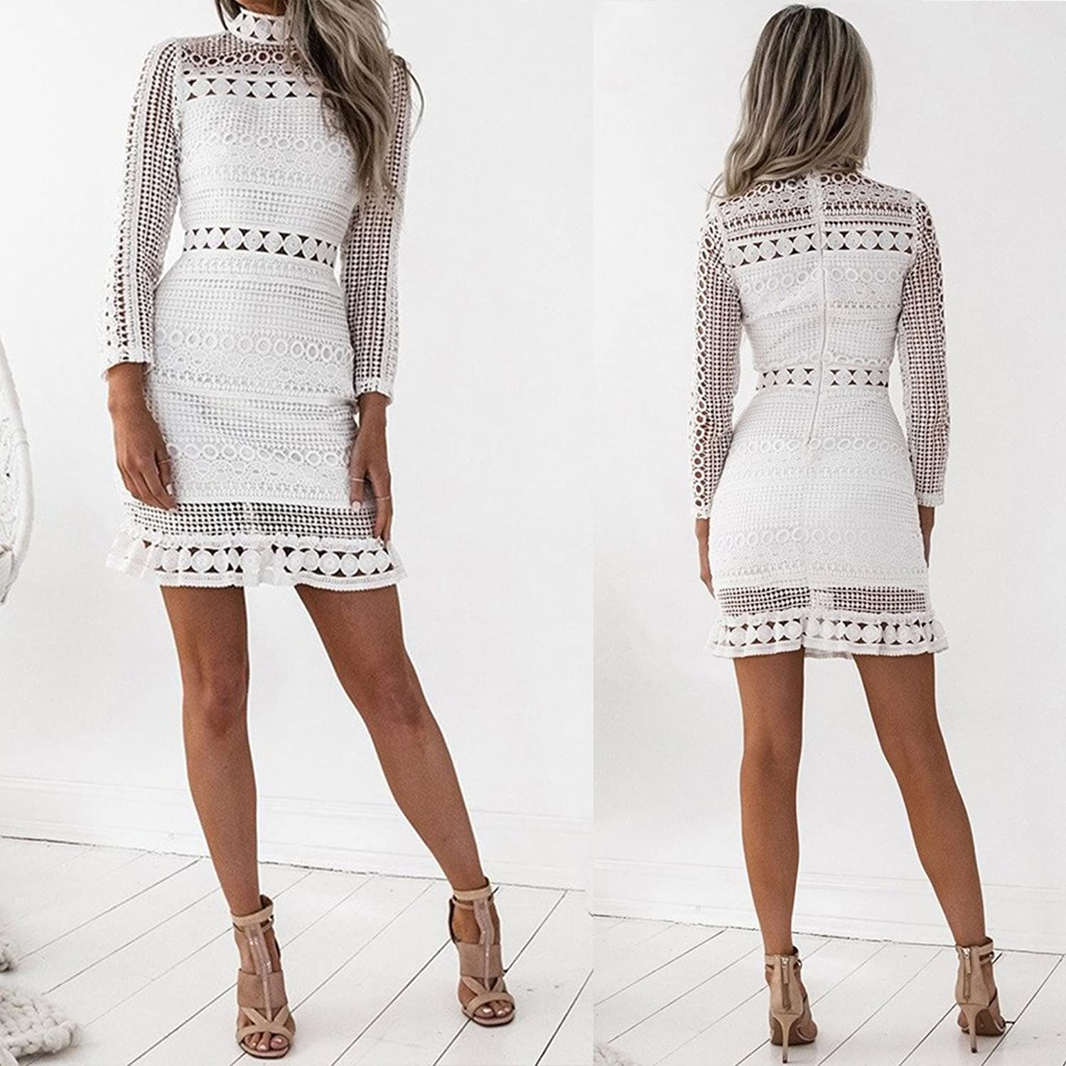 Best-Topshop Women Summer Autumn Long Sleeve High Neck Lace Patchwork Hollow Party Dress at Amazon Womens Clothing store: