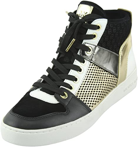 bb5bf3aab509 MICHAEL Michael Kors Women s Black Pale Gold Matty High-top Sneakers 7.5 B(M