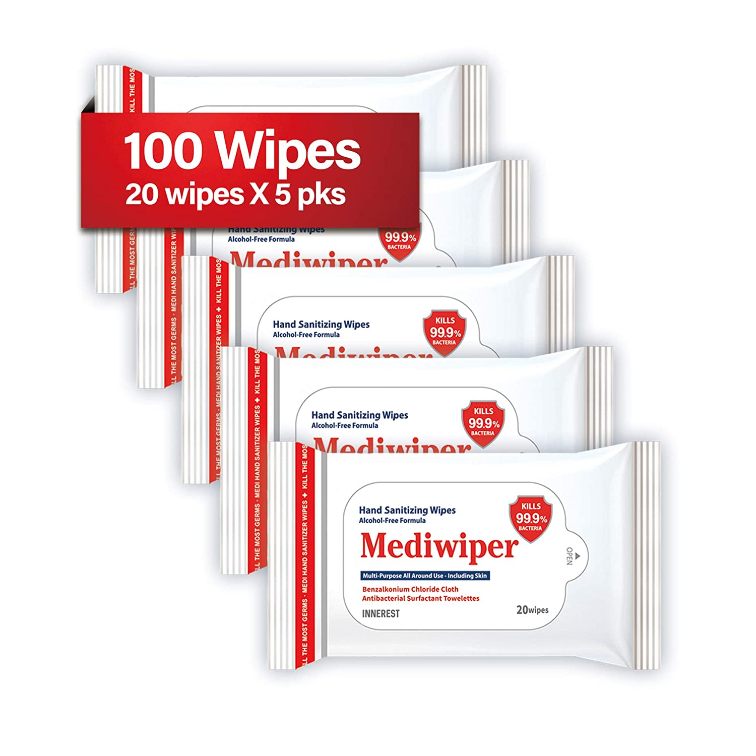 Refreshing Wet Wipes Alcohol-Free Wipes Travel Size to Sanitize/Clean/Deodorize Bulk Wipes (100 Wipes (205pks, Prime))