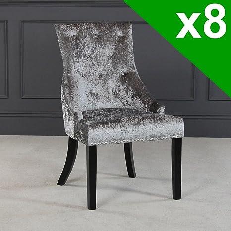 The Furniture Market Lujo Plata Terciopelo Scoop Back Silla de Comedor con Patas de Color Negro