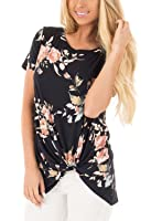 Chase Secret Womens Short Sleeve Floral Print Knot Front Blouse Casual Tops T Shirt