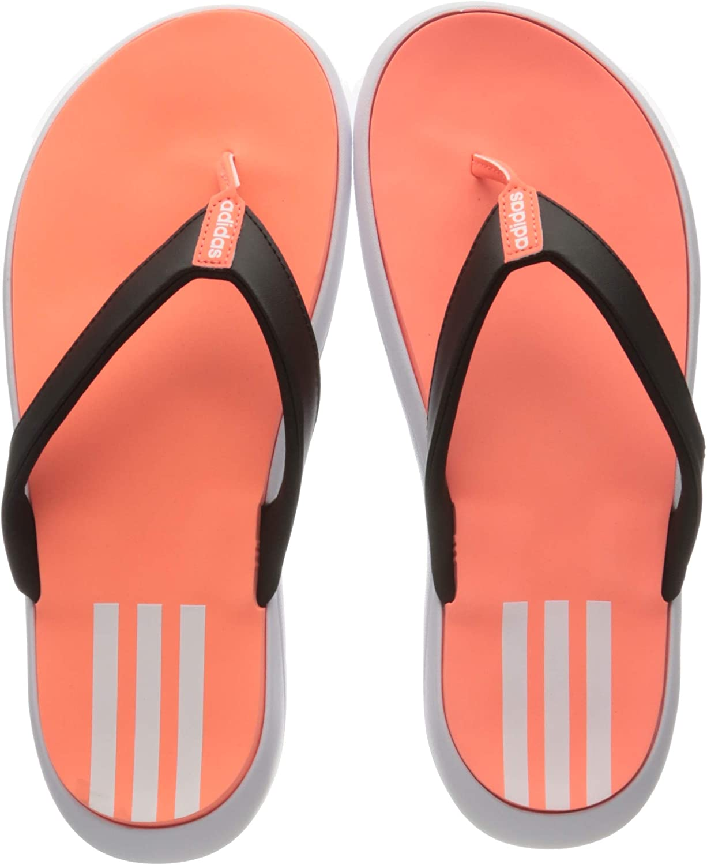 orange adidas flip flops