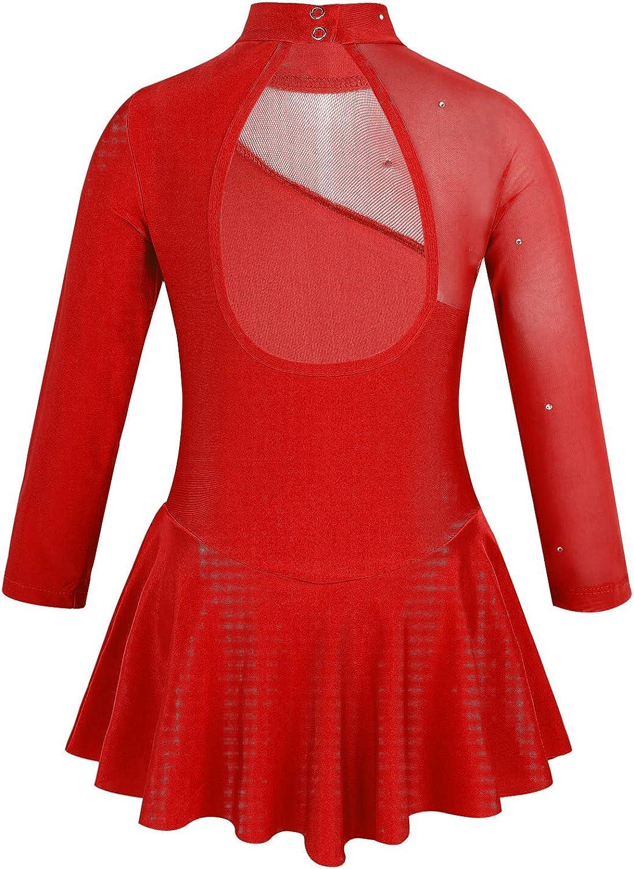 iixpin Vestido Infantil de Patinaje Artistico Vestido de Danza Mailot de Ballet Manga Larga Cuello Alto Traje Bailarina Actuaci/ón 4-14 A/ños