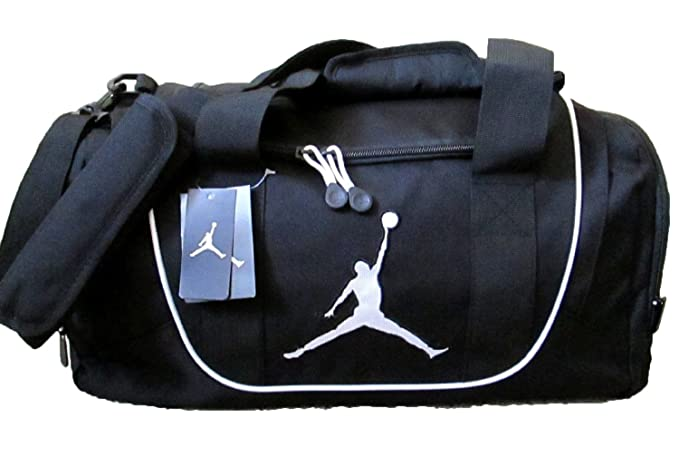 60a332755c5c Image Unavailable. Image not available for. Colour  Nike Air Jordan Duffel  Gym Bag in Black and White 9A1498-210
