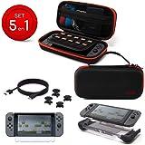 Dobe Kit de Accesorios Nintendo Switch 5 en 1 Con Estuche Elite, Cargador Tipo-C, Carcasa Protectora, 2 pares de Joysticks Gr