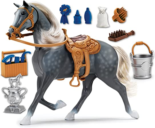 Morgan Horse with Moveable Head, Realistic Sound and 14 Grooming Accessories - Blue Ribbon Champions Deluxe Toy Horses