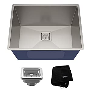 KRAUS Pax 24-inch 18 Gauge Undermount Single Bowl Stainless Steel Laundry and Utility Sink, KHU24L (Certified Refurbished)