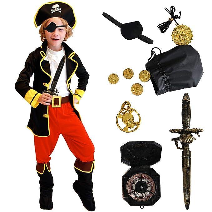 Amazon.com: ACEHOOD Disfraz de pirata para niños, disfraz de ...