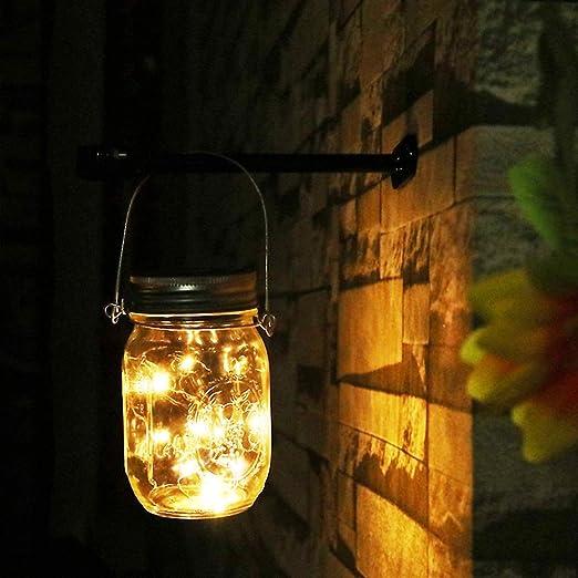 Luz Exterior Jardin Solar - NEWYANG Mason Jar luz,Luces de hadas al aire libre impermeables del LED, luces colgantes para el jardín, patio, boda, partido, barra, café.(Caliente): Amazon.es: Jardín