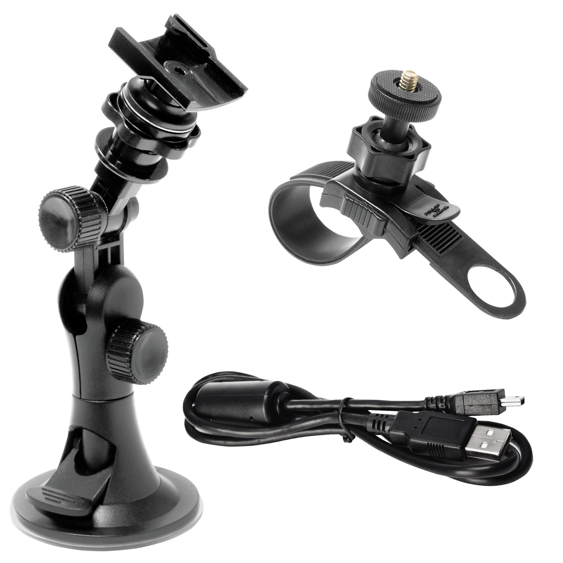 Midland Accessory Value Pack for Midland Action Cameras.Includes Windshield Suction Cup and Handle Bar Mount with USB Cable XTAVP-1
