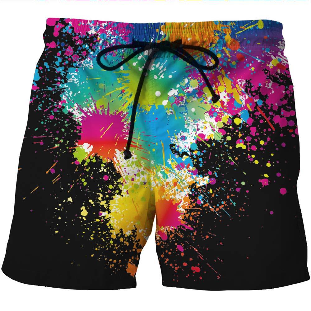 Mens Beach Smiley Creative Print Casual Drawstring Loose Shorts