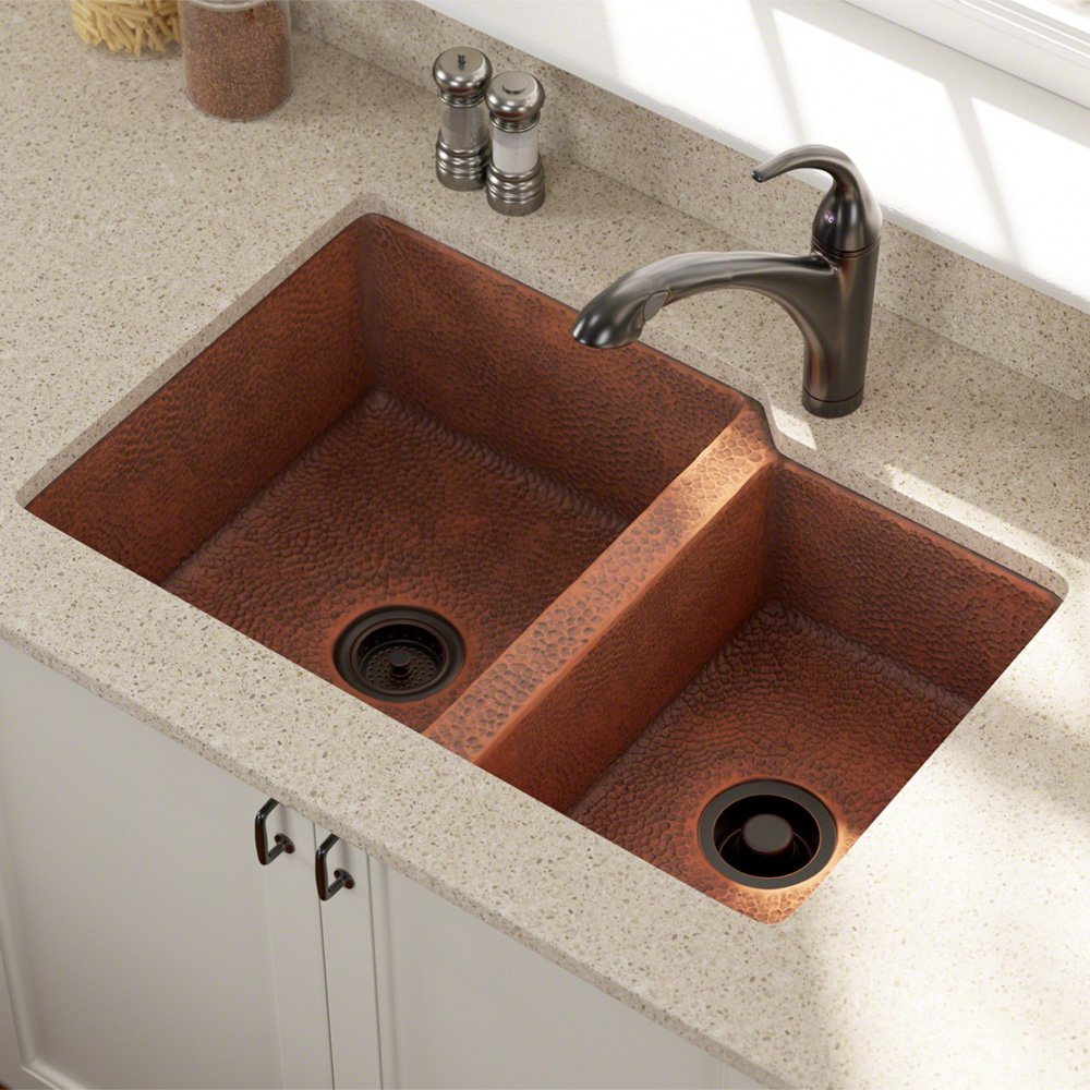 pin kitchen brilliantly undermount sink stone this complements dark copper countertop