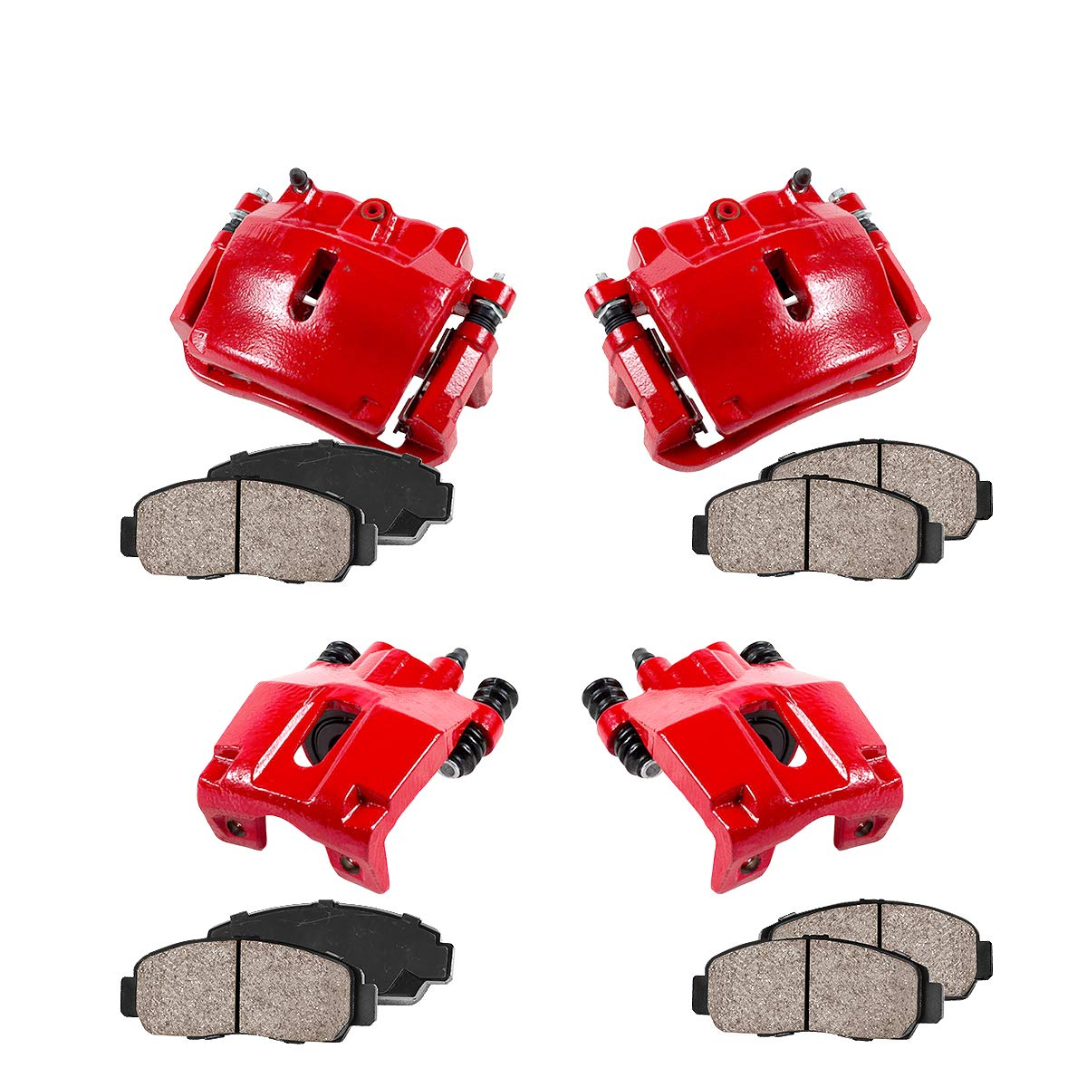 CCK01412 FRONT + REAR [ 4 ] Performance Grade Loaded Powder Coated Red Calipers + Ceramic Brake Pads Kit Callahan Brake Parts
