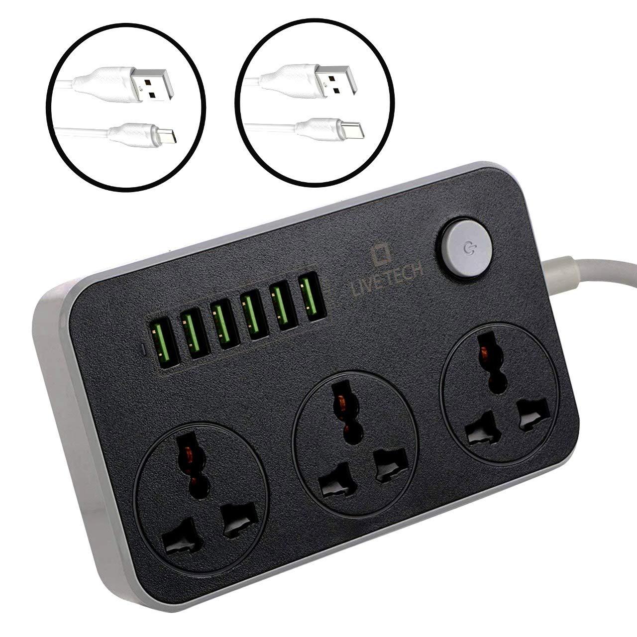 Live Tech PS06 Multi Plug With USB Socket